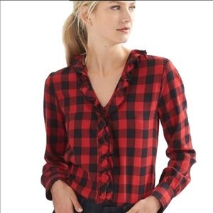 GAP • Red Buffalo Plaid Ruffled Button Up Flannel